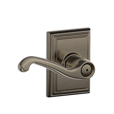 Schlage Flair Lever with Addison Decorative Rose in antique pewter