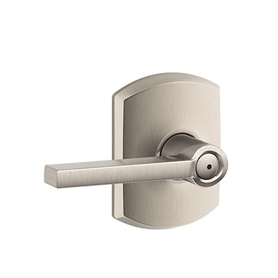 Schlage F40LAT619GRW Lattitude Privacy Door Lever Set with Greenwich Rose