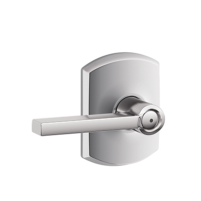 Schlage F40LAT625GRW Lattitude Privacy Door Lever Set with Greenwich Rose