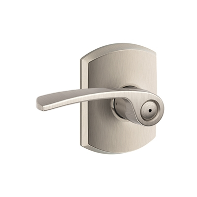 Schlage F40MER629GRW Merano Privacy Door Lever Set with Greenwich Rose