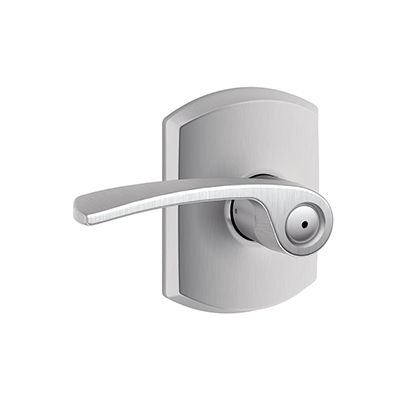 Schlage F40MER626GRW Merano Privacy Door Lever Set with Greenwich Rose