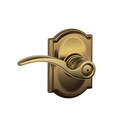 Schlage F40STA609CAM St. Annes Privacy Door Lever Set with Camelot Rose
