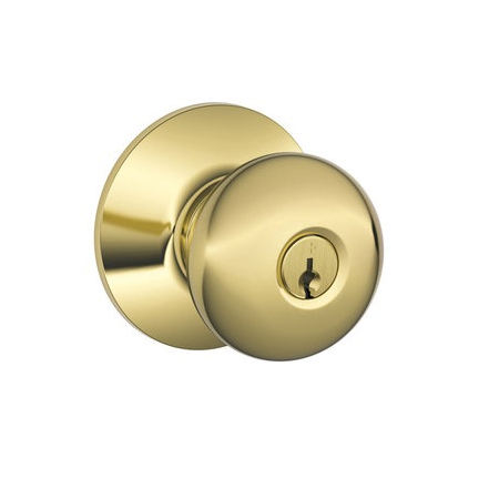 Schlage F51A-PLY Plymouth Keyed Entry Door Knob Set Polished Brass 605
