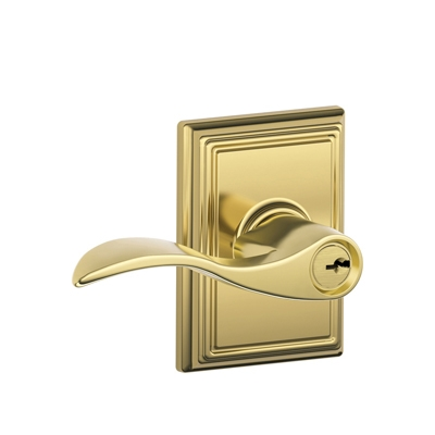Schlage F51ACC505ADD Accent Keyed Entry Lever Knob Set with Addison Rose