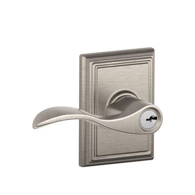 Schlage Accent Lever with Addison Decorative Rose in Satin Nickel