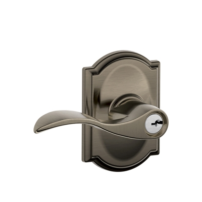 Schlage F51ACC620CAM Accent Keyed Entry Lever Set with Camelot Rose