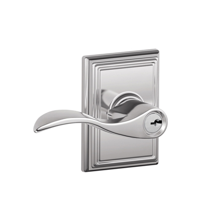 Schlage F51ACC625ADD Accent Keyed Entry Lever Knob Set with Addison Rose