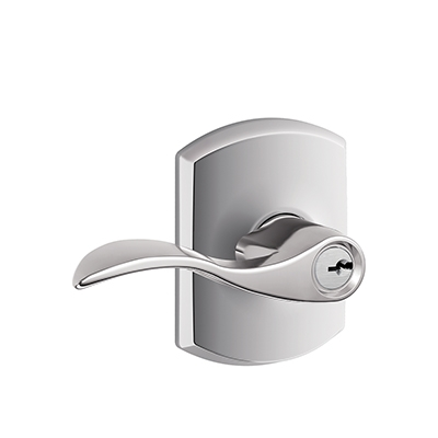 Schlage F51ACC625GRW Accent Keyed Entry Lever Knob Set with Greenwich Rose