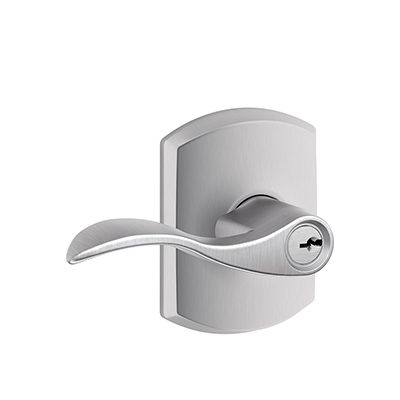 Schlage F51ACC626GRW Accent Keyed Entry Lever Knob Set with Greenwich Rose