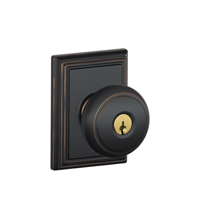 Schlage Andover Knob with Addison Decorative Rose in Aged Bronze (716)