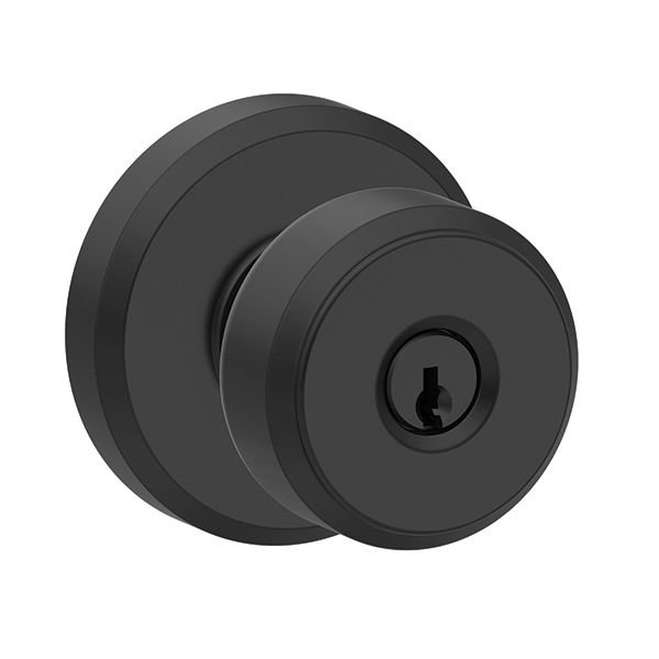 Schlage F51ABWE622GSN Bowery Keyed Entry Set with Greyson Rose Matte Black