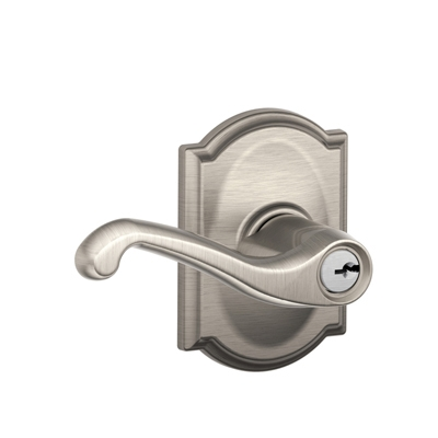 Schlage F51FLA619CAM Flair Keyed Entry Lever Set with Camelot Rose
