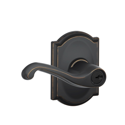 Schlage F51FLA716CAM Flair Keyed Entry Lever Set with Camelot Rose