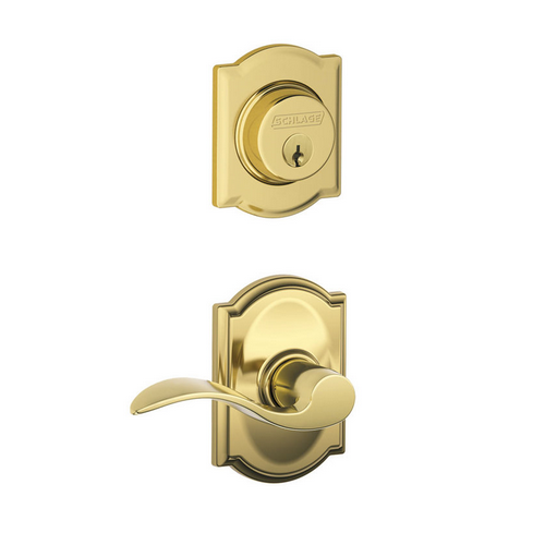 Schlage F57 F59 ACC/CAM Camelot Single Cylinder Deadbolt with Accent Lever
