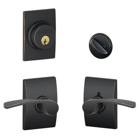Schlage F57 F59 MER/CEN Century Single Cylinder Deadbolt with Merano Lever