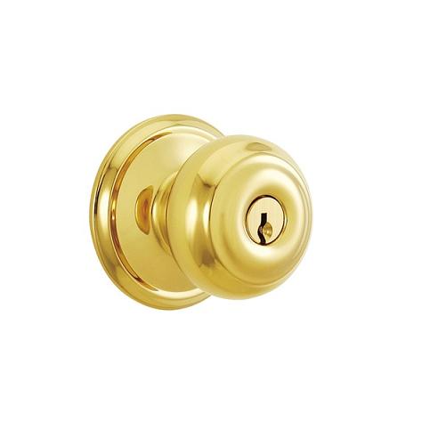 Schlage F80-Geo-605 Storeroom Polished Brass 605