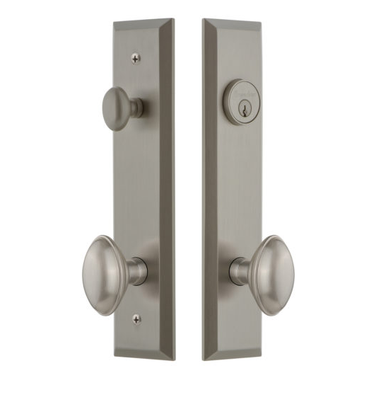 Grandeur Fifth Avenue Tall Plate Entrance Set with Choice of Knob or Lever Antique Pewter