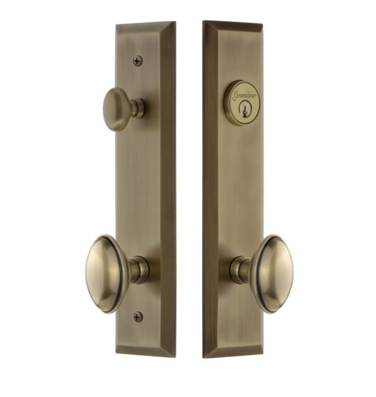 Grandeur Fifth Avenue Tall Plate Entrance Set with Choice of Knob or Lever Vintage Brass