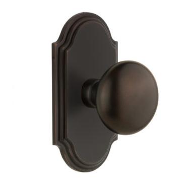 Grandeur Fifth Avenue Door Knob Set with Arc Short Plate Timeless Bronze
