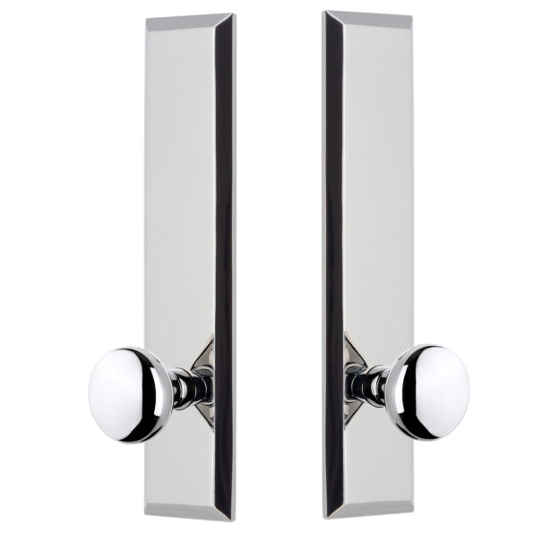 Grandeur Fifth Avenue Tall Plate with Choice of Knob or Lever Polished Chrome