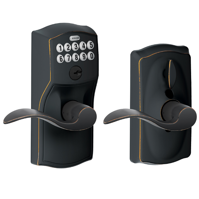 Schlage FE59CAM716ACC Camelot Keypad Flex Lock w/Accent lever Aged Bronze