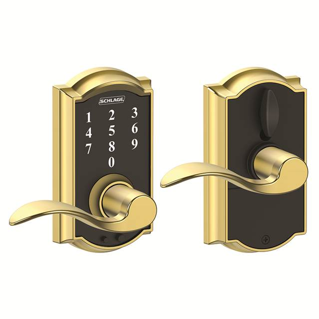 Schlage FE695CAM605ACC Camelot Touch™ Entry Lever Set with Accent Lever