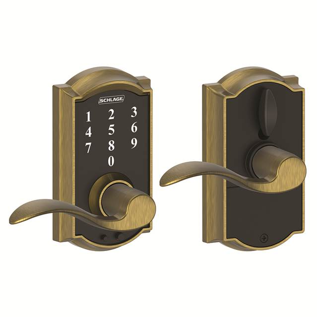 Schlage FE695CAM609ACC Camelot Touch™ Entry Lever Set with Accent Lever