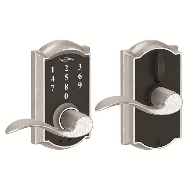 Schlage FE695CAM626ACC Camelot Touch™ Entry Lever Set with Accent Lever
