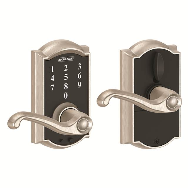 Schlage FE695CAM619FLA Camelot Touch™ Entry Lever Set with Flair Lever