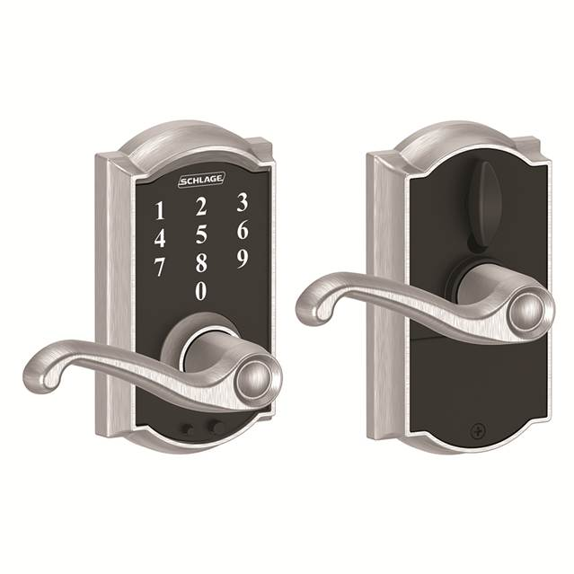 Schlage FE695CAM626FLA Camelot Touch™ Entry Lever Set with Flair Lever