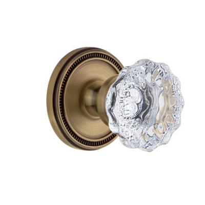Grandeur Fontainebleau Knob with Soleil Rose Vintage Brass (VB)