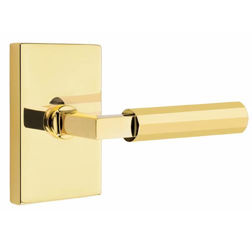 Emtek Select Faceted Door Lever Set with L-Square Stem Unlacquered brass