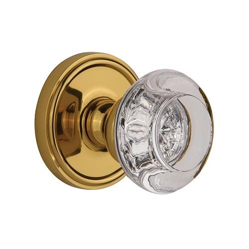 Grandeur Bordeaux Crystal Door Knob Set with Georgetown Rose Lifetime Brass