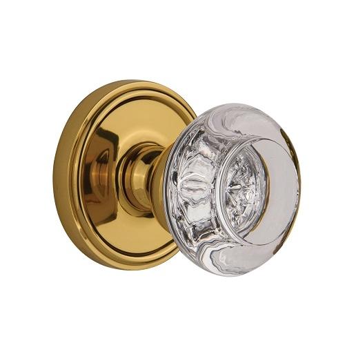 Grandeur Bordeaux Crystal Door Knob Set with Georgetown Rose Polished Brass