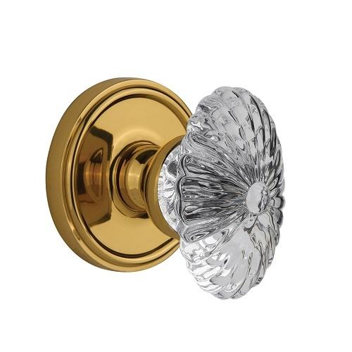 Grandeur Burgundy Crystal Door Knob Set with Georgetown Rose Lifetime Brass