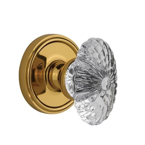 Grandeur Burgundy Crystal Door Knob Set with Georgetown Rose Polished Brass