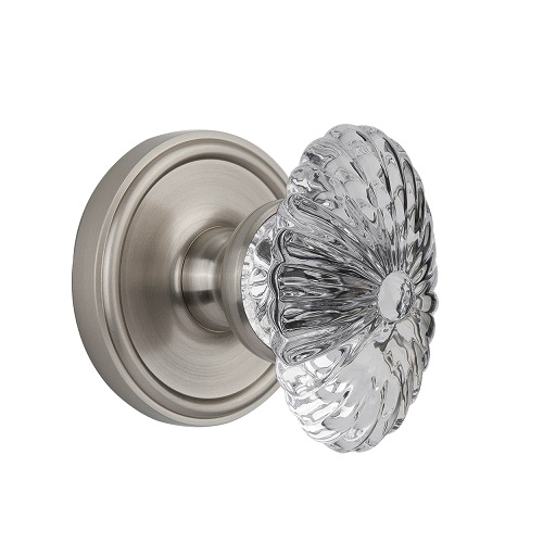 Grandeur Burgundy Crystal Door Knob Set with Georgetown Rose Satin Nickel