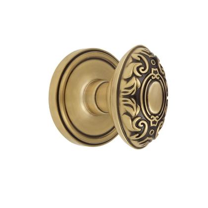 Grandeur Grande Victorian Knob with Georgetown Rose Vintage Brass