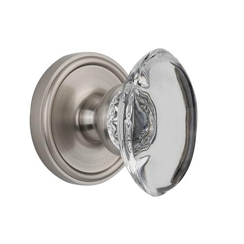 Grandeur Provence Crystal Door Knob Set with Georgetown Rose Satin Nickel