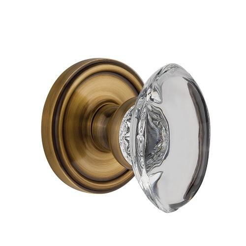 Grandeur Provence Crystal Door Knob Set with Georgetown Rose Vintage Brass