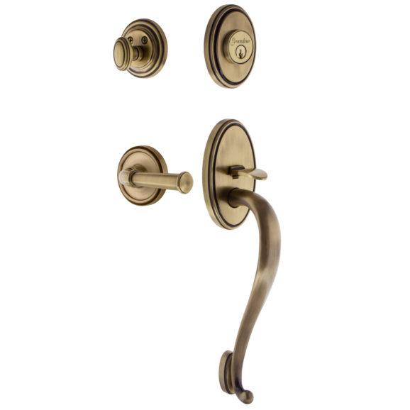 Grandeur Georgetown Handleset shown with Georgetown Lever Vintage Brass (VB)