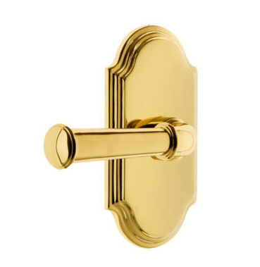 Grandeur Georgetown Lever Set with Arc Short Plate Polished Brass