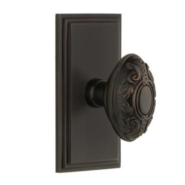 Grandeur Grande Victorian Door Knob Set with Carre Short Plate Timeless Bronze