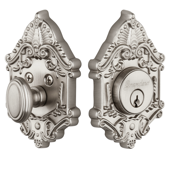 Granduer Grande Victorian Single Cylinder Deadbolt SN Satin Nickel