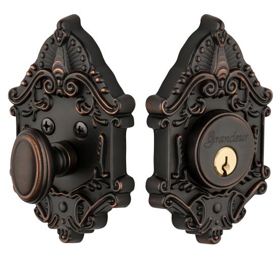 Granduer Grande Victorian Single Cylinder Deadbolt TB Timeless Bronze