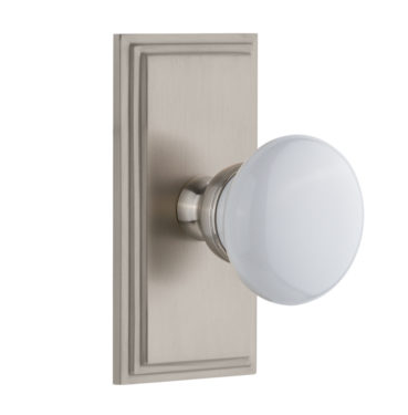 Grandeur Hyde Park Door Knob Set with Carre Short Plate Satin Nickel