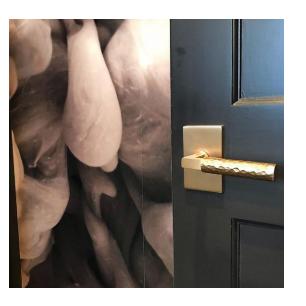 Emtek L-Square Hammered Lever w/Modern Rectangular Rose in Satin Brass
