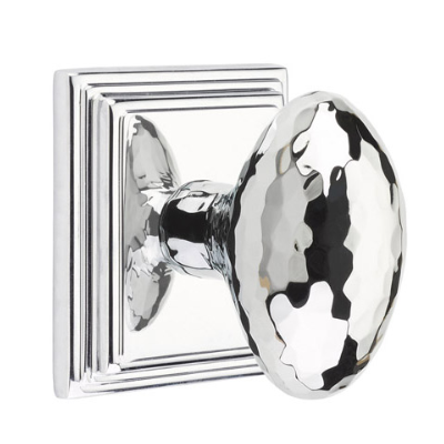 Emtek 8161 Hammered Egg Door Knob Set Polished Chrome