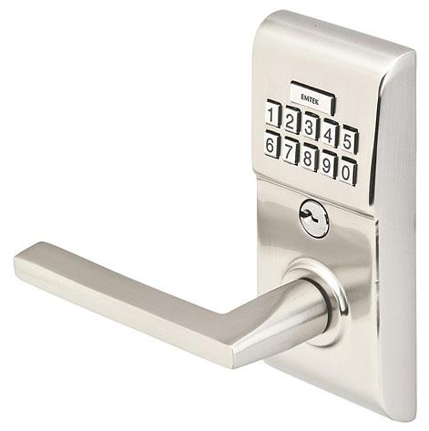 Emtek Modern Brass Keypad Leverset w/Helios Lever Satin Nickel (US15)