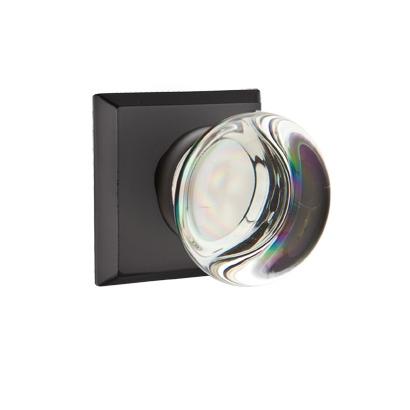 Emtek Providence Crystal Door Knob Set with #6 Rose Flat Black Patina (FB)